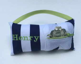 Blue Striped Personalized Tooth Fairy Pillow