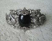 Black Onyx Dragon Cuff Bracelet, renaissance jewelry medieval jewelry fantasy jewelry cosplay gothic edwardian victorian tudor bracelet