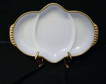 Fire King Three Part Oblong Milk White Relish Dish Gold Trim USA Anchor Hocking