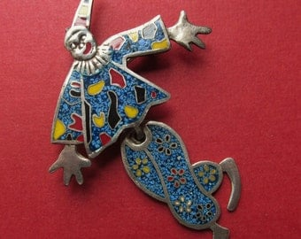 Vintage Mexican Sterling Silver Enamel Articulated Clown Brooch Pin