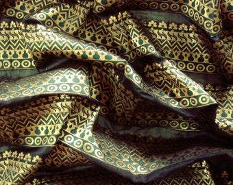 gold and green chanderi fabric  - 1 yard - br091