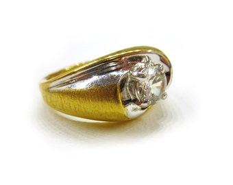 Vintage Mens Ring Gold CZ Ring Solitaire Size 11 3/4 Gift for Him Mens Gift Idea under 15 Two 2 Tone Gold Silver Ring