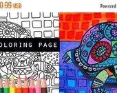 50% Off- Turtle coloring, animal coloring book, adult coloring book, coloring pages, adult art, coloring book for adults, printable coloring