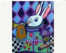 65% Off- Alice In Wonderland White Rabbit Art Art  Poster Print of  Painting  by Heather Galler