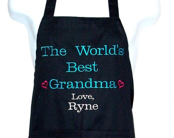 World's Best Grandma Apron, Personalize With Eleven Names, Granny, Mamma, Nanne, Nonna, Lola, Babe, Ready To Ship TODAY, AGFT 489