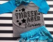 Threenager Birthday Shirt Third Birthday Shirt Girls Birthday Shirt Funny kid shirt 3rd birthday shirt custom name threenager birthday shirt