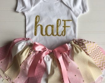 Pink and Gold Tutu Outfit - Pink and Gold Party - Half Birthday Outfit - Fabric Tutu - Cake Smash Outfit Baby - First Birthday
