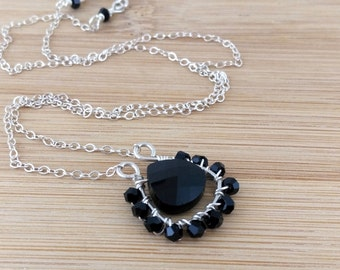 Black Glass Necklace Horseshoe Pendant Jet Black Swarovski Crystal Pendant Wire Wrapped Sterling Silver Beaded Necklace Oxidized Silver