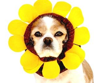 Sunflower Dog Snood, Stay-Put 3 Rows Elastic Thread, Pet Hat,  Long ear covering,  Specialty Snood