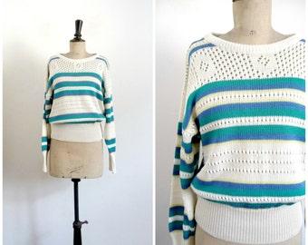 Vintage 80's White Striped Sweater Acrylic / Small to Medium