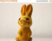 50% OFF Cute vintage Russian flocking toy Bunny, made in USSR, 70s