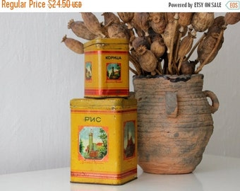 50% OFF Beautiful USSR tin canisters for rice and cinnamon, made in Soviet Union, 50s