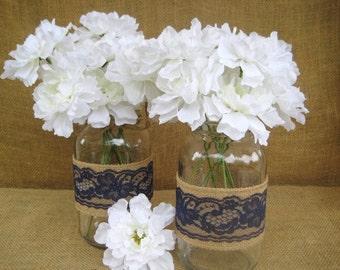 Rusic  Burlap  &   Navy Blue Lace Mason Jar Wraps  set of 6