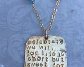 DAVE Matthews Band QUOTE Jewelry. Or other CUSTOM quotes and lyrics