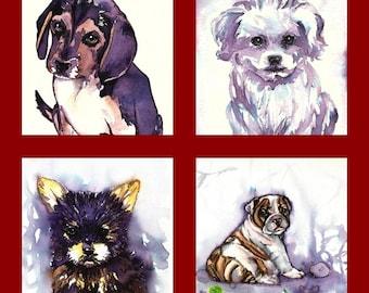 "Custom Portrait "" Dog"" MADE to ORDER Art Original Watercolor Animals Pets  ""Dogs """