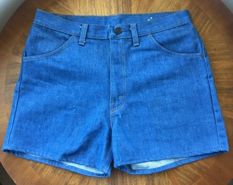Vintage 60s 70s Denim Shorts • Deadstock Denim • Waist Size 33
