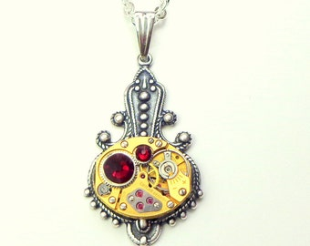 Vintage Gold Watch Movement, Ruby Jeweled,Steampunk Necklace,Steam Punk Goth,Gothic Jewellry,Edwardian Fantasy,Neo Victorian,Red Crystals