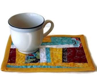 Springtime - Quilted Mug Rug Coaster Mini Placemat FREE SHIP