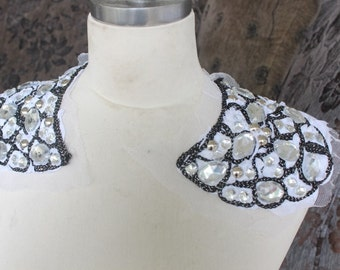 Cute embroidered  and  beaded applique  with rhinestones 2 pieces listing