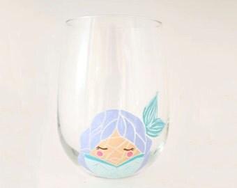 Mermaid Mosaic Egg Hand Painted Wine Glass - Character Drinkware