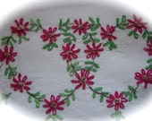 Hearts and Flowers Vintage Set of Cotton Pillowcases Hand Embroidered
