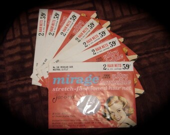 Vintage Mirage Stretch-Fashioned Hair Nets by Jac-O-Net 7 Envelopes of 2 Circa 1960's Retro Hair Accessories FREE SHIPPING