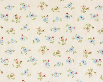"""Yuwa Linen canvas marguerite Daisy in Ivory and Blue FLowers  Japanese fabric Double Gauze -  50cm or 19""""length by 110cm or 42"""" wideth"""