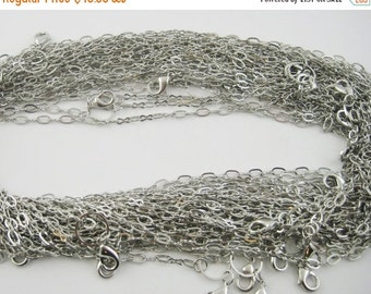 75% OFF - 10pcs Dark Silver Floating Locket Necklace Chains - Antique Silver 24 inch Chains - Link Chain Round Toggle Lobster Hook Clasp