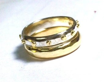 Wedding bands, Stacking ring ,14k solid Gold ring and silver ring with Lovely 14k gold dots, made to order, women wedding bands, set bands
