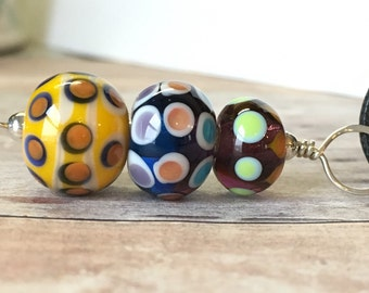 Lampwork Jewelry - Lampwork Glass Bead Pendant - Glass Bead Pendant - Lampwork Necklace - Polka Dot Necklace - Lampwork Bead Jewelry
