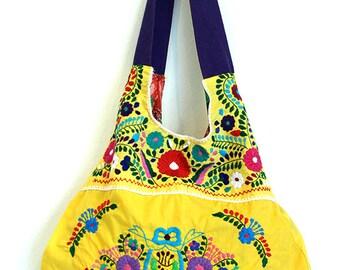 Mexican Embroidered Handbag Merida Hobo Yellow