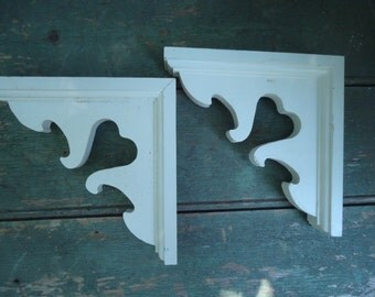 Pair of Vintage White Painted Wooden Corbels