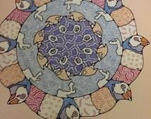 """1986 adult coloring book BIRD FANTASY DESIGNS 45 original plates William Rowe unused coloring art book 8x11"""""""