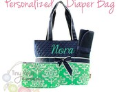 Personalized Diaper Bag, Mint Damask Monogrammed Baby Tote, Changing Pad, Mommy Bag