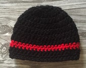 Thin Red Beanie Baby Firefighters Hat, Newborn Hat, EMS, Thin Red Line, Black hat, Crochet, Firefighters, Hat, Badge, Ready to Ship, Baby