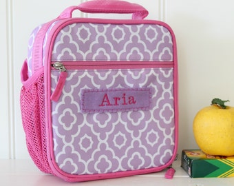 Lunch Bag With Monogram Classic Style Pottery Barn --Lavender/Pink Geo