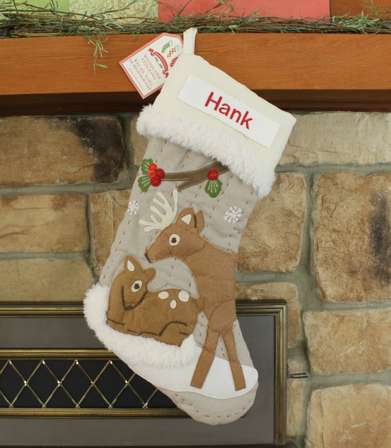 Deer and fawn christmas stocking with monogram pottery barn