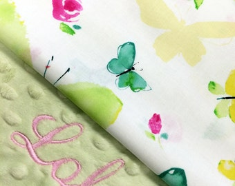 Butterfly Blanket, Butterfly and Rose Cotton Baby Blanket, Personalized Baby blanket, Monogrammed Baby Blanket, Pink Flower Blanket