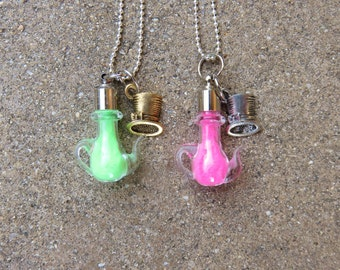 Mad Hatter Tiny Glass Teapot Glow in Dark Necklace, Mad Hatter Necklace, Alice in Wonderland Necklace