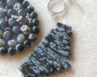 Snowflake Obsidian, Jade Beads, Crystal Glass Rondelles, DIY Jewelry Kit, Craft Supply, Bead Kit, Jewelry Making Beads, Necklace Kit