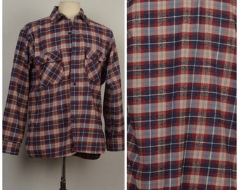80s vintage Red Blue Gray heavy cotton Flannel Shirt JC Penney Plaid Checked Men Button Up Shirt large 48 chest