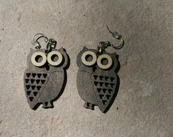 Mid Century Wood Owl Earrings