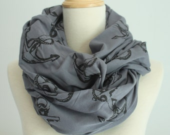 Jersey Anchor Infinity Scarf, Made in Canada, Organic, Screen printed
