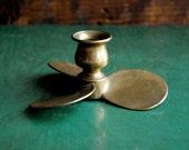 Brass Propellor Candle Holder, Brass Propeller Candlestick,