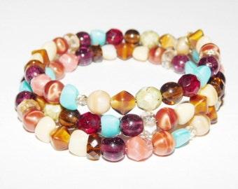 Vintage Multi Colored beaded glass bracelet