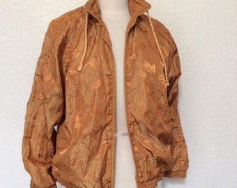 CLEARANCE - Vintage 90's Gold Nylon Bomber Jacket - Medium