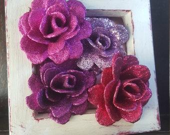 Glitter Rose Art, Pink Mixed Media Original Modern Artwork, Roses, Small Box Frame