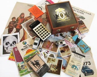 Vintage Cigar Box Full of 1970s Treasures - 1970s Memory Box