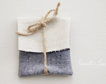 set of 10, indigo yarn died linen blend USB packaging gift wrap