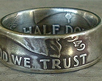 1949 Franklin Half Dollar Coin Ring (90% Silver) (Available in sizes 8.5 through 10)